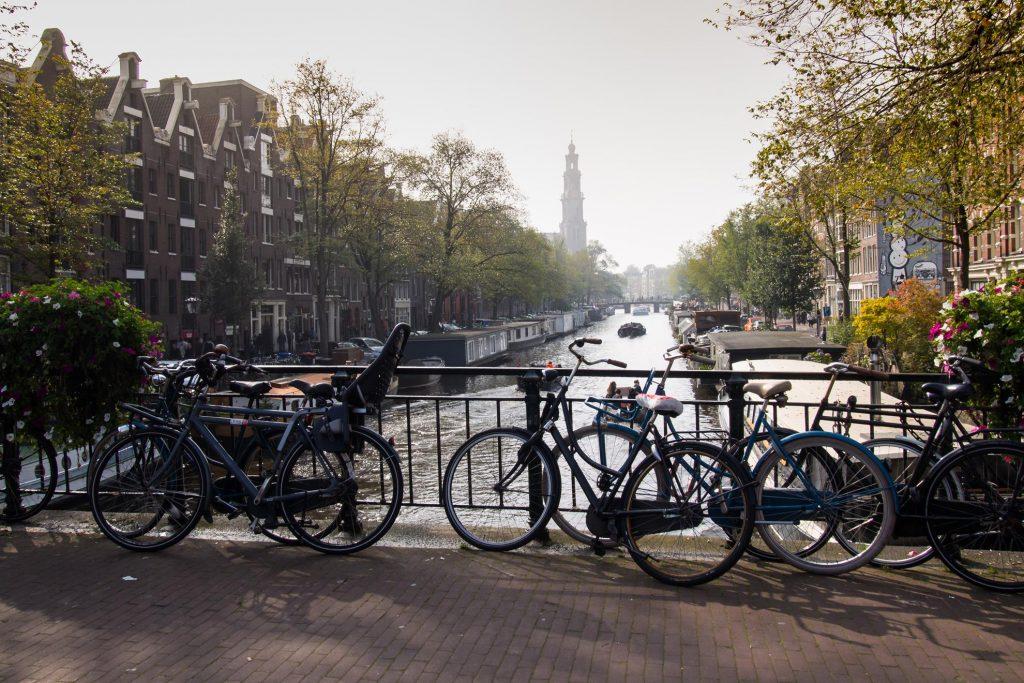 Widok na Westerkerk w Amsterdamie.